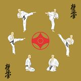 Six men are engaged in karate. Stock Images