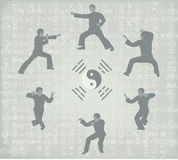Six men engaged in Kung Fu. Illustration of six men engaged in Kung Fu royalty free illustration