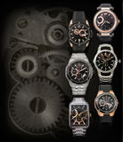 Six mens watches background with copy space Royalty Free Stock Photos