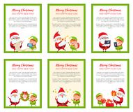 Six Merry Christmas Banners with Santa and Elf Royalty Free Stock Photography