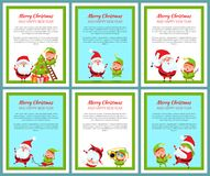 Six Merry Christmas and Happy New Year Banners. With ridiculas Santa Claus and elf, vector illustration with text symbols on light backgrounds vector illustration