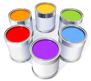 The six metal cans with colorful paint Royalty Free Stock Photos