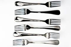 Six metallic fork Stock Image