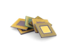 Six microprocessors Royalty Free Stock Photos
