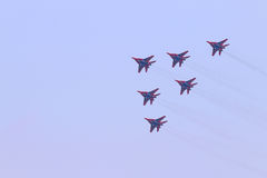 Six Mig 29 fighter planes fly Royalty Free Stock Images