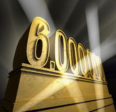 Six million. Number six million in golden letters on a golden pedestal royalty free illustration