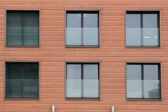 Six Modern front glass windows of an new house.  Stock Photography