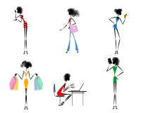 Six modern girls. Vector illustration of six modern girls Stock Photo