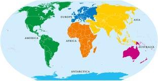 Six mondes de continents, carte politique illustration de vecteur