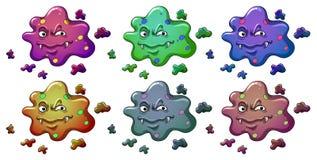 Six monstres comme des bactéries Photos libres de droits