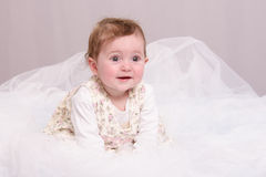 Six-month baby girl sitting on a couch in tulle. Six-month beautiful charming girl on the couch royalty free stock photo