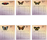 Six Month Calendar - 2011 Stock Photo