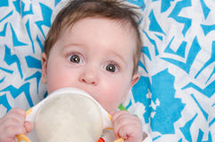 Six-month girl drinking milk formula from a bottle. Six month old baby drinking milk from a bottle with the teat royalty free stock image
