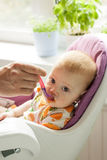 Six month old baby feeding by mother from spoon Stock Photo