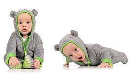 Six month old identical twin brothers Stock Photo