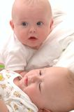 Six month old twin babies Royalty Free Stock Images