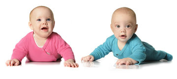 Six month old twin brother and sister Stock Images