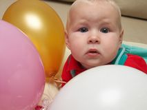 Six month and three ballons royalty free stock photos