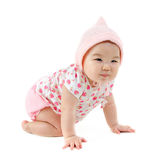 Six months old East Asian baby girl. Full body Six months old East Asian baby girl crawling on white background stock photos