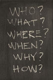 The six most common questions on blackboard Stock Image