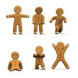 Six moving Gingerbread man. Royalty Free Stock Photography