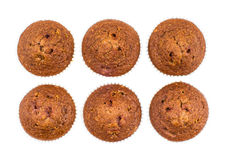 Six muffins in row isolated on white Royalty Free Stock Images