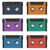Six multi colored cassettes. Retro Royalty Free Stock Image