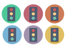 Six multi-colored icons of a traffic light. Stock Photos