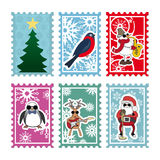 Six multi-colored stamps for Christmas card Stock Photos