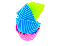 Six multicolor silicone muffin pans Stock Image