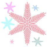 Six multicolored bright, motley Christmas, New Year`s. Snowflakes. Vector illustration Stock Photos