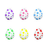 Six multicolored eggs for easter. On a white background Royalty Free Stock Photo