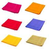 Six napkins. Six multicolored napkins isolated on white Stock Photo