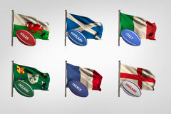 Six nations flags Royalty Free Stock Images