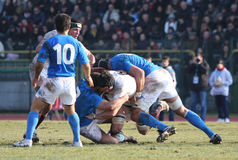 Six Nations Rugby 2010; Italy A vs England Saxons. Mogliano Veneto (Ialy); Six Nations 2010, Italy A vs England Red Saxons, 5-31 (5-0 Royalty Free Stock Photos
