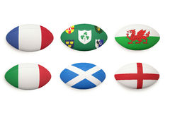 Six nations rugby balls Stock Photos