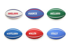 Six nations rugby balls Royalty Free Stock Images