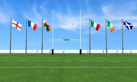 Six nations rugby concept. Rugby field with the flags of the teams in the six nations tournament royalty free stock photos