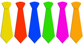 Six neckties in different colors. Six neckties in different unicolors Royalty Free Stock Photography