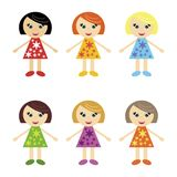 Six nice girls on white Royalty Free Stock Image