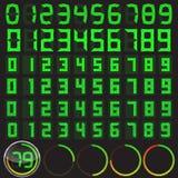 Six nombres numériques ont placé dans différents styles et corps de base d'horloge Photographie stock