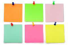 Six notes collantes de couleur Images stock
