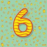 Six number birthday greeting design Stock Photos