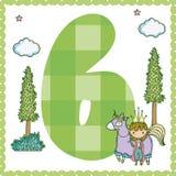 Six number cartoon. Six number magic world cartoon vector illustration graphic design Stock Image