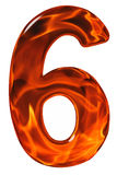 6, six, numeral from glass with an abstract pattern of a flaming Stock Image