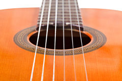 Six nylon strings of classical acoustic guitar Royalty Free Stock Photography