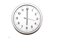 Six o`clock. Wall clock isolated on white and signing the six o clock hour - part of 12 hours series Stock Photos