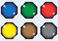 Six octagonal buttons Royalty Free Stock Photography