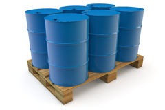 Six oil barrels on pallet. Six blue oil barrels standing on a pallet stock illustration