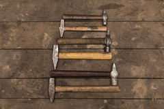 Six old hammers Stock Photo